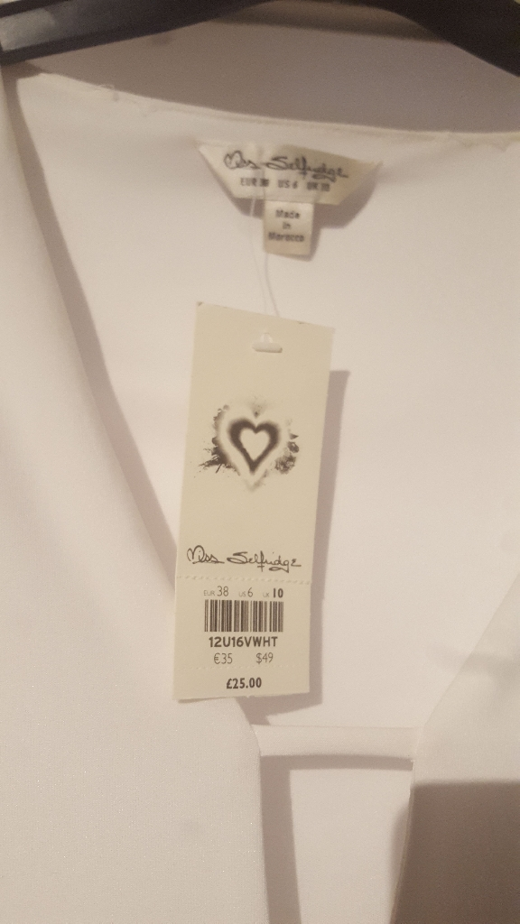 Miss Selfridge white body suit, size 10, new with tags