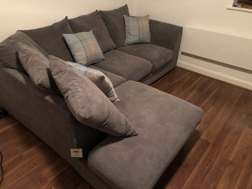 Grey 4 seater L sofa