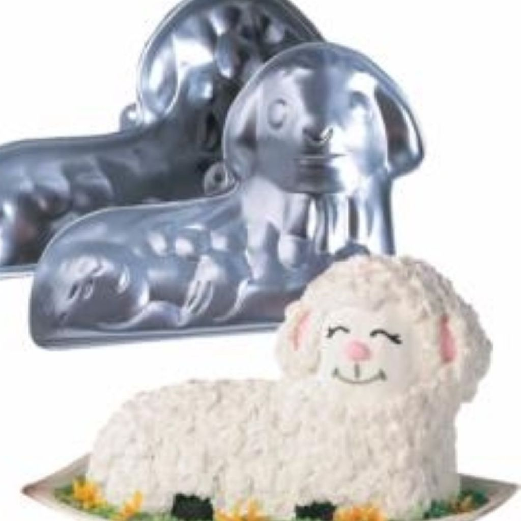 WILTON STAND-UP ALUMINUM CAKE LAMB/SHEEP, 2 PIECE MOLD 3-D PAN