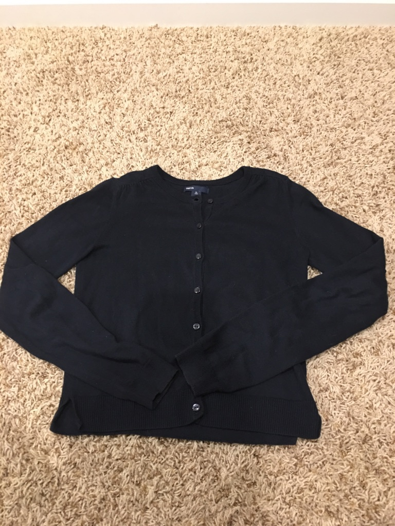 Girl's Navy Blue Cardigan Sweater, Size XL(12)