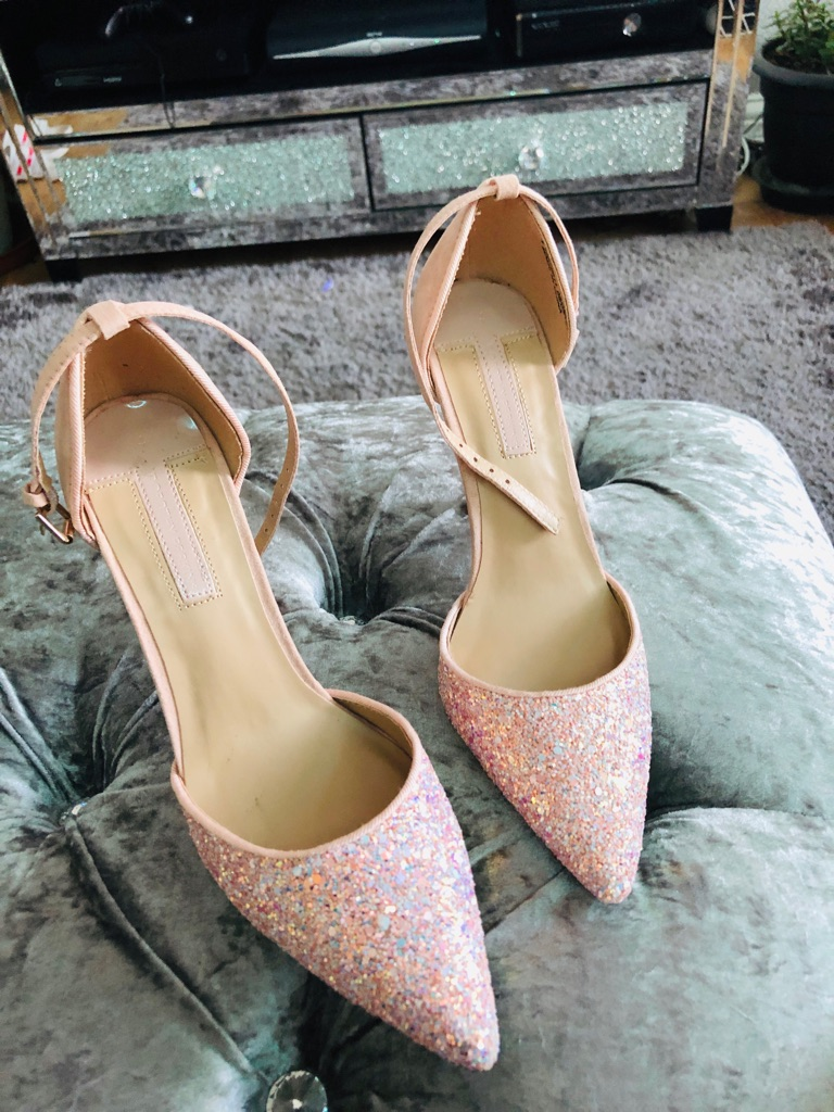Women's pink glitter shoes by Dorothy Perkins size 4