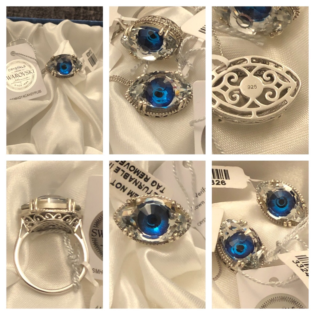 Swarovski ring set chain pendant sterling silver 925 evil eye new