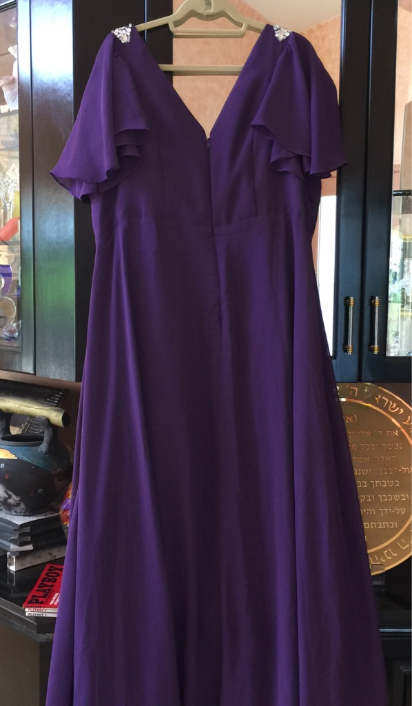 plus size Plum Chiffon Evening Gown