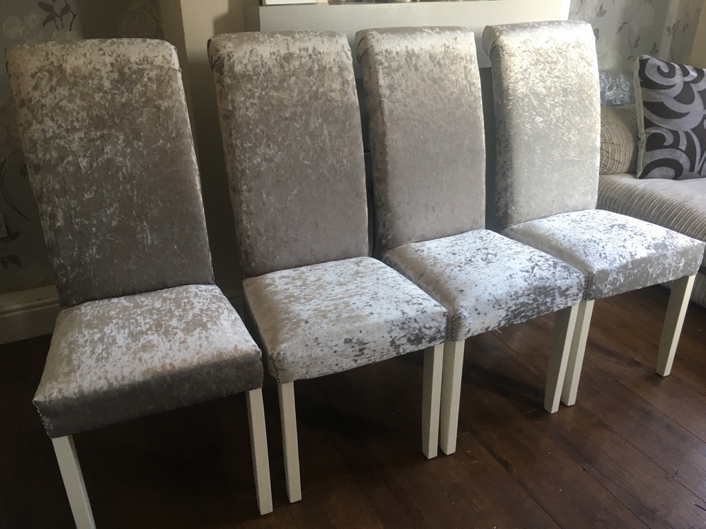 Silver crushed velvet chairs