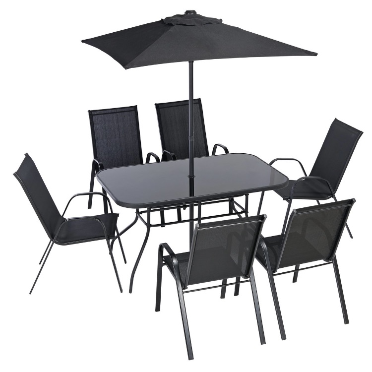 Table and six chairs without parasol