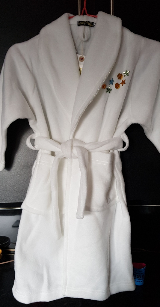 Bridesmaids white fluffy embroidered dressing gowns