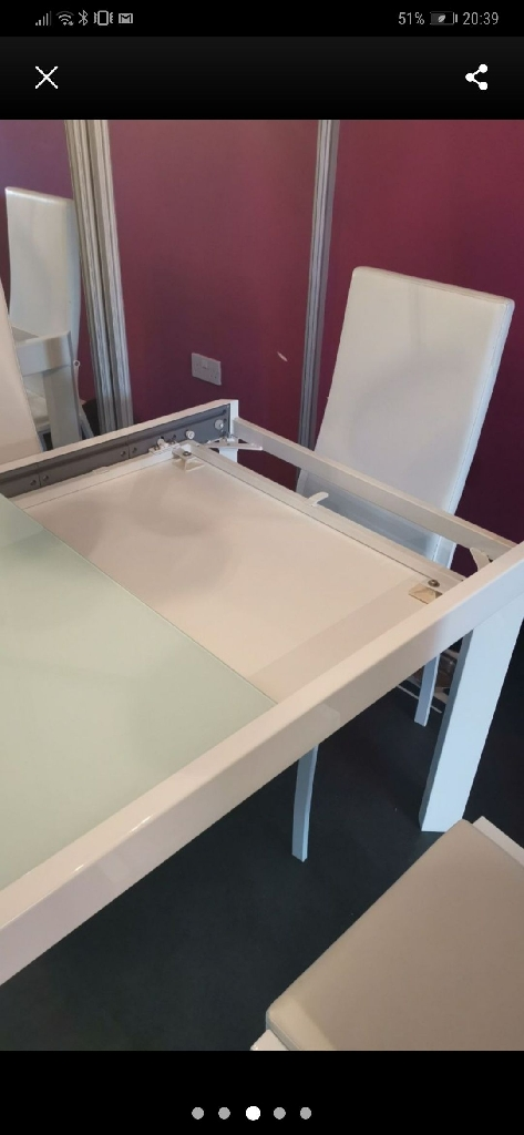 Glass dining table white