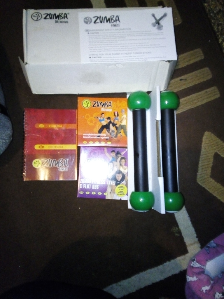 Zumba weights and dvds.
