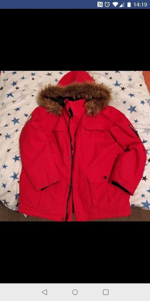 Boys Red Winter Coat with fleece lining
