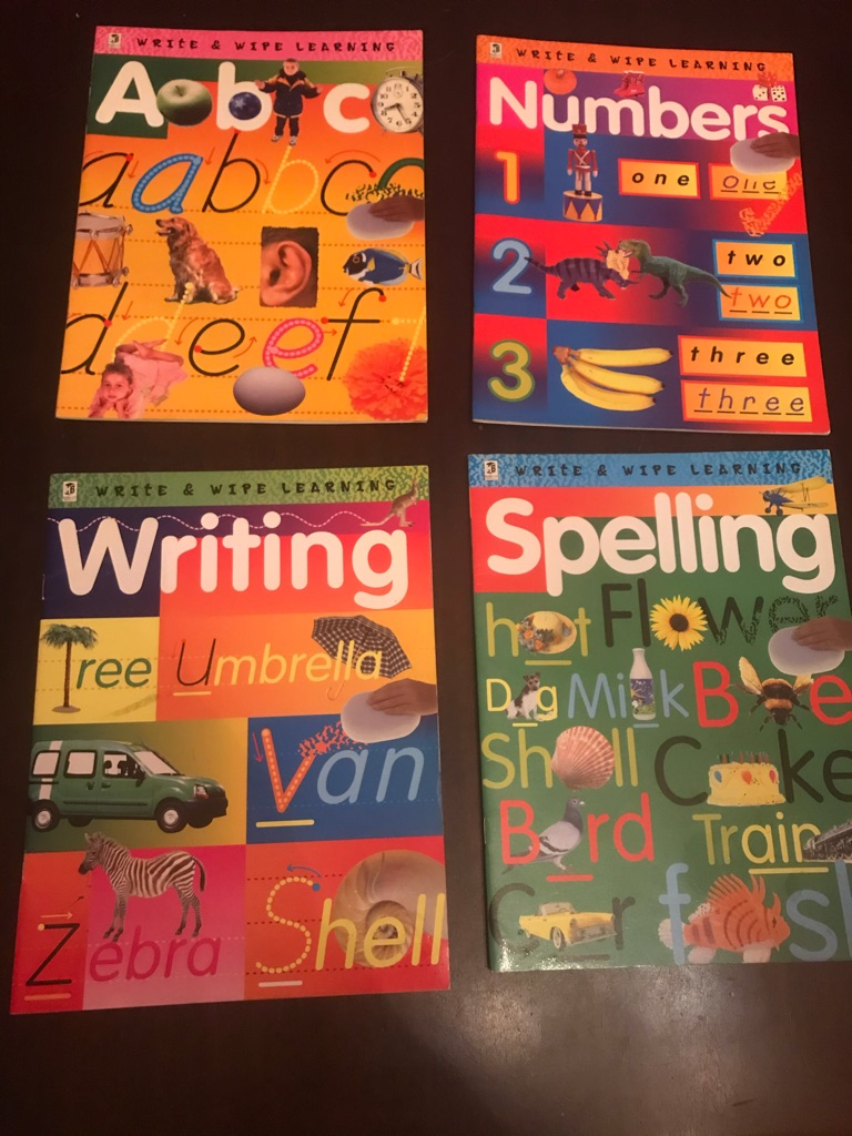 NEW Childrens Colourful Write On Wipe Off Learning Books x4