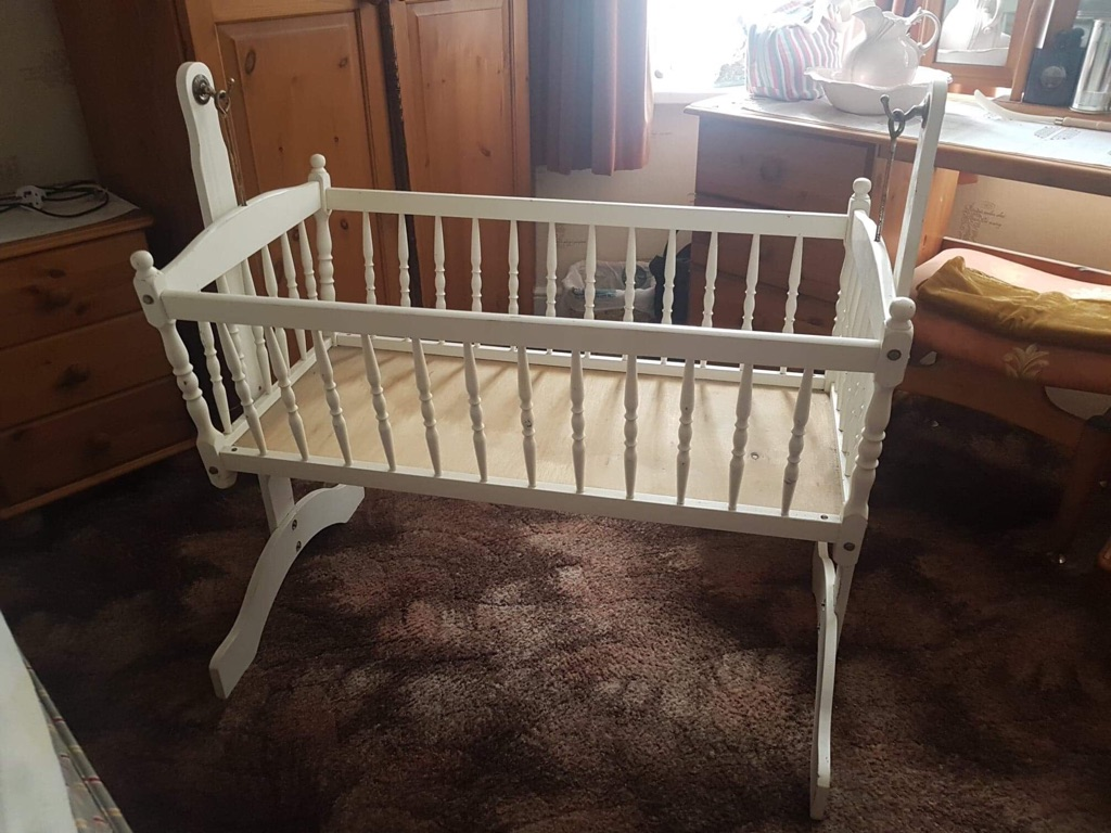 White swinging crib 2 available