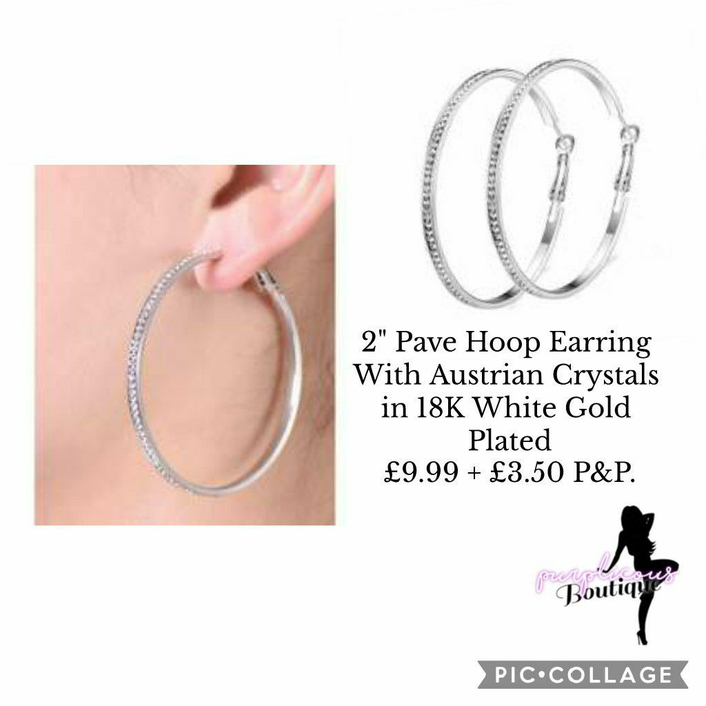 """2"""" Pave Hoop Earring With Austrian Crystals in 18K White Gold Plated👂"""