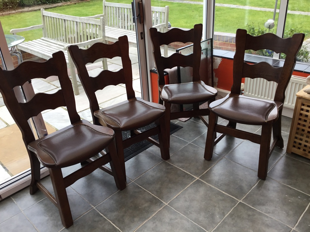 4 Oak Faux Leather Studded Dining Room Chairs
