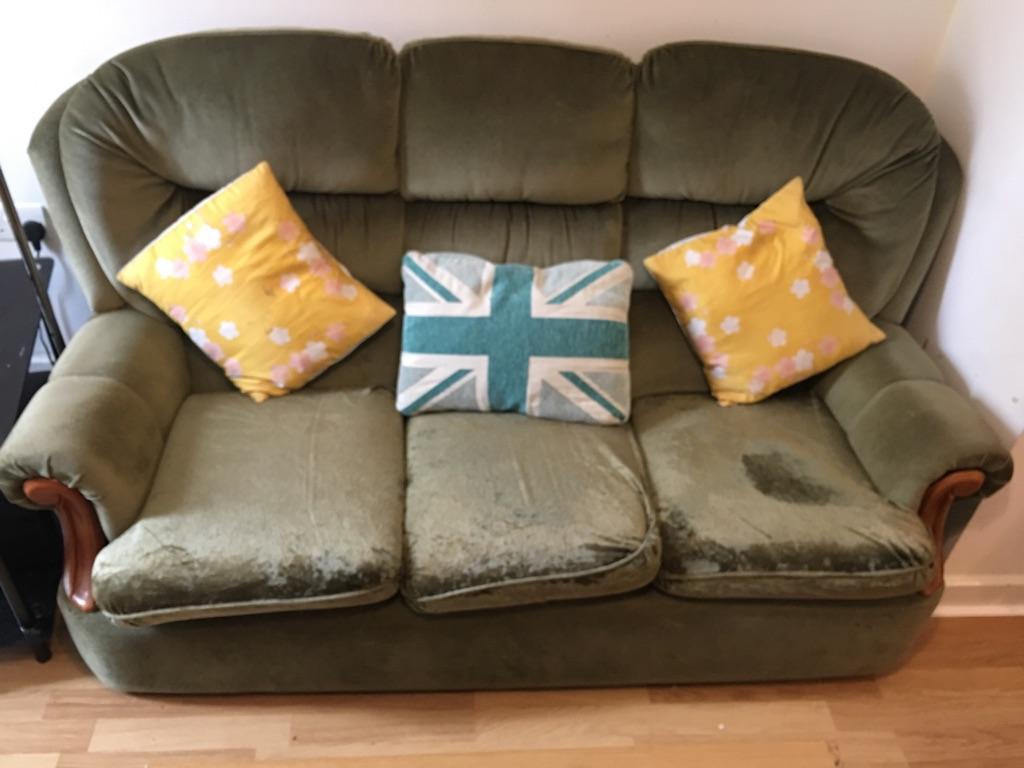 Green Velvet Sofa - 5 seater -Available by 01/09