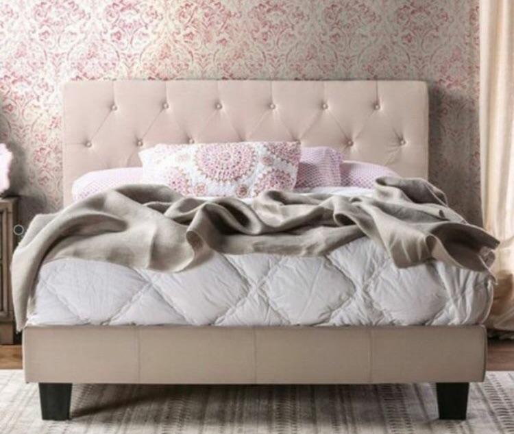 Ivory Upholstered Platform bed w / padded H/B