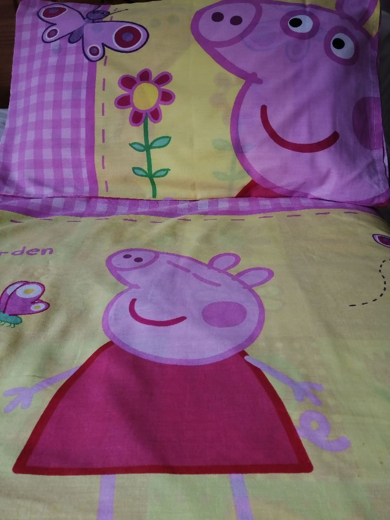 Peppa Pig Single Duvet Cover with matching bed side light and lampshade