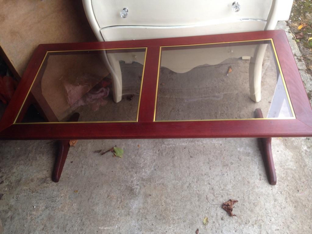 Mahogany glass top table
