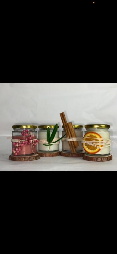 Handmade candles in jar