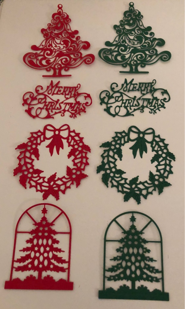 8 x Christmas Die cut-outs for Card making, crafts, embellishments