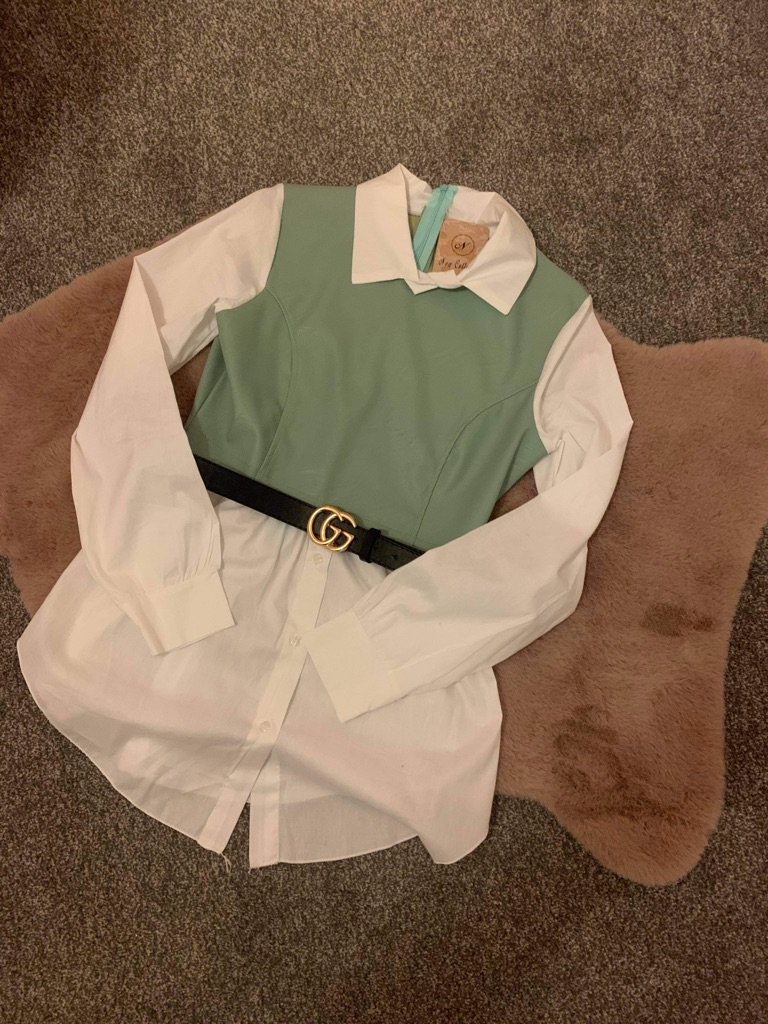 Green leather shirt