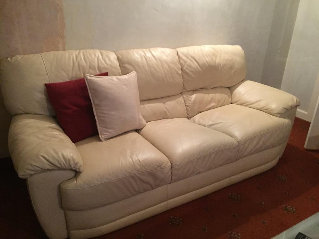 Cream Leather 3 Seater Sofa