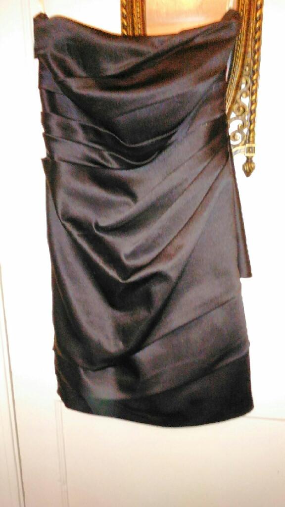 Black silk dress and fur coat