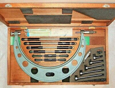"Vintage Mitutoyo 104-138 Interchangeable Anvil Outside Micrometer Set 6-12"" .001"