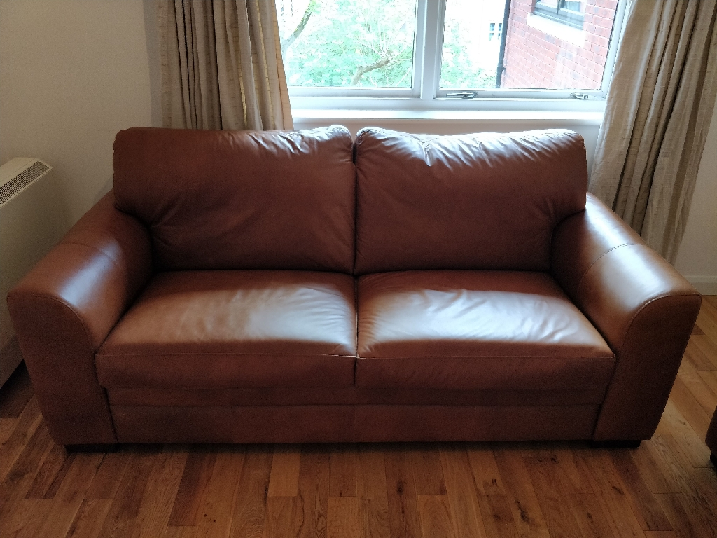Real leather sofa suite (2 sofas and footrest)