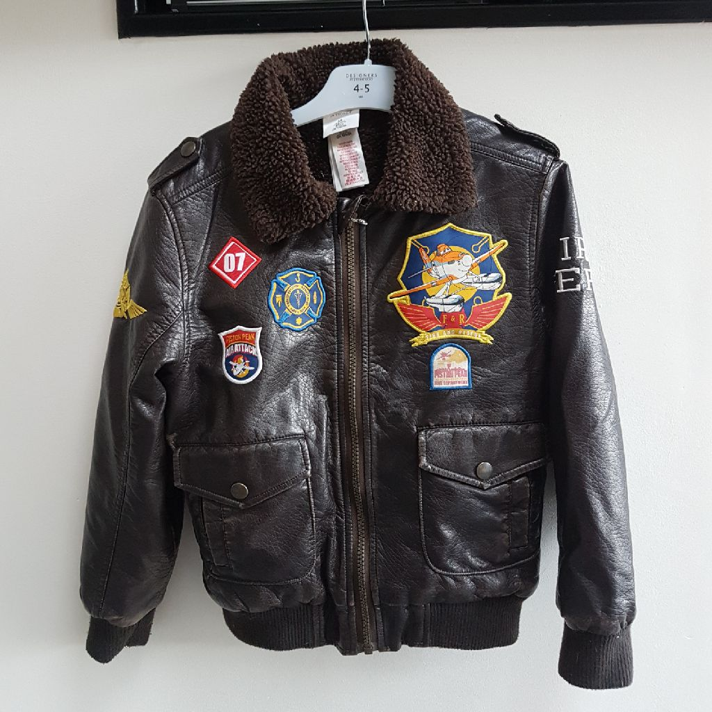 Boys brown faux leather flying jacket