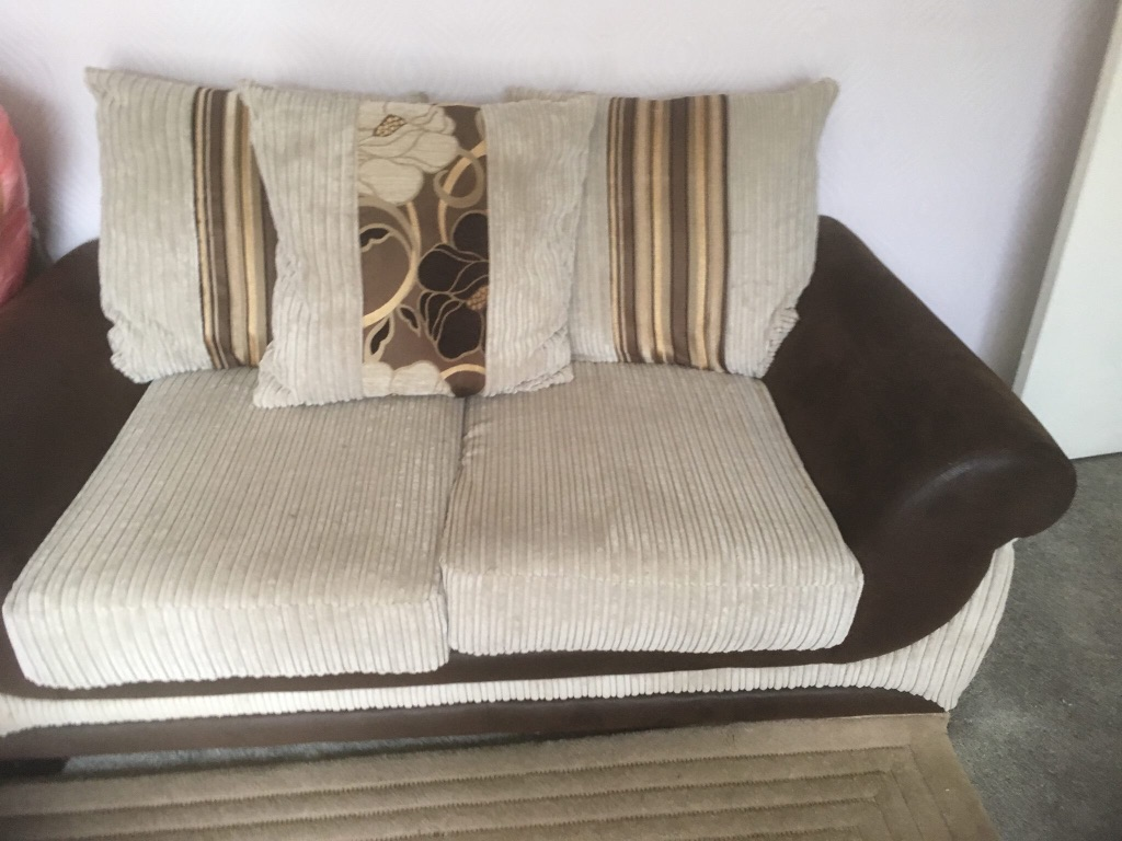 Leather and Fabric 2 x3 settees