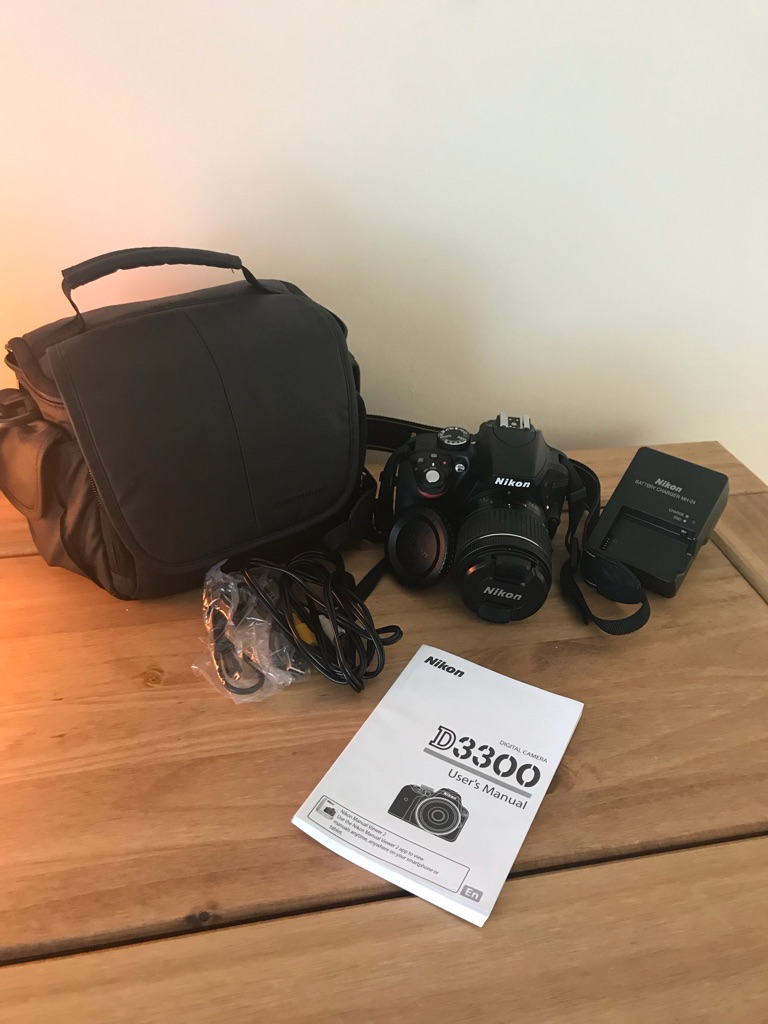 Nikon D3300 including lense and bag.