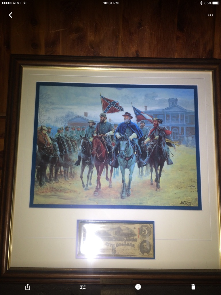 Framed Civil War Painting With Confederate $5 Bill.