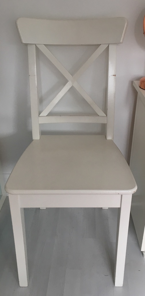 White wooden Ikea chair