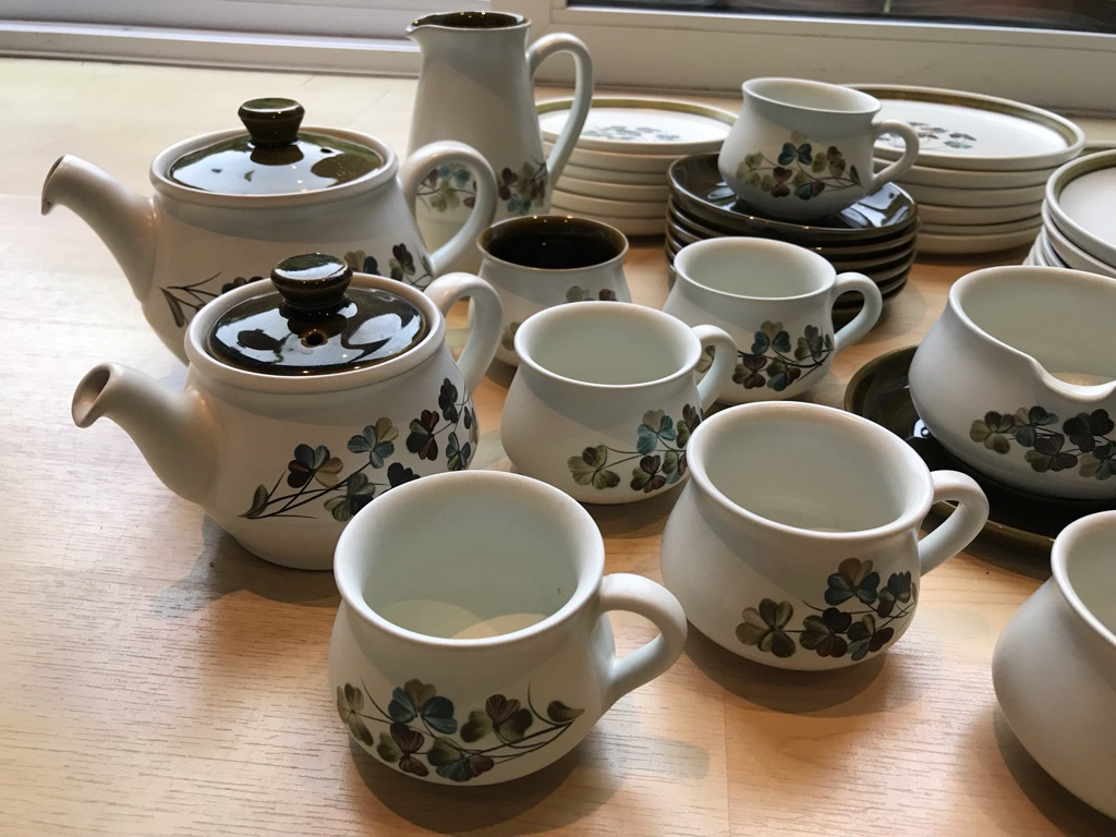 Vintage Denby Shamrock Dinner Service And Tea Set, To Serve 6, 1964-1970