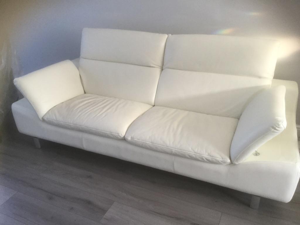 White leather 3 seater sofa