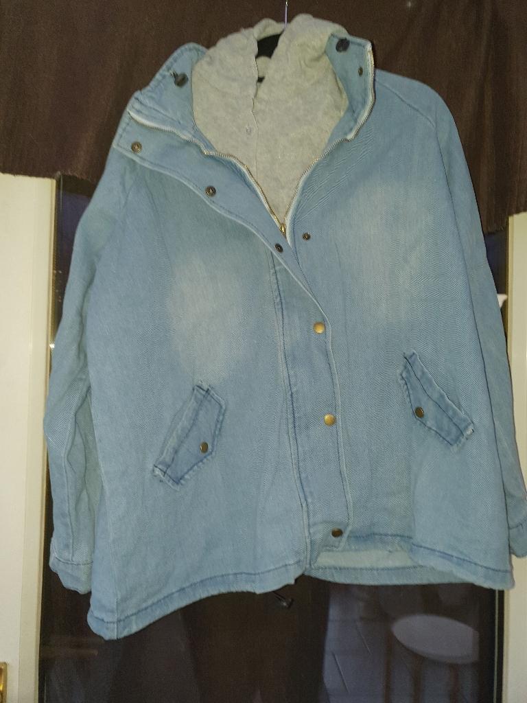 Jean jacket with grey body warmer