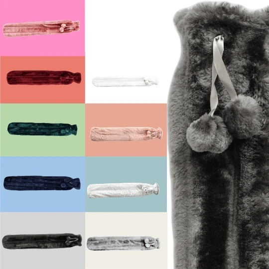 Faux Fur Pom Pom Extra Long Hot Water Bottle, 2L Capacity