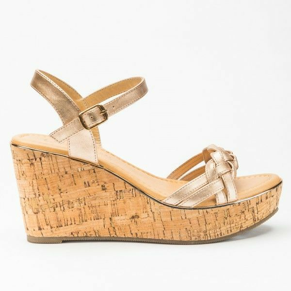 ROSE GOLD PU KNOT CORK WEDGE
