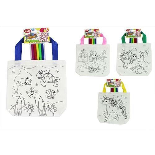 Colouring tote bag with pens