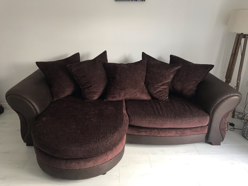 Brown Part Leather/Part Fabric 4 Seater Corner Sofa