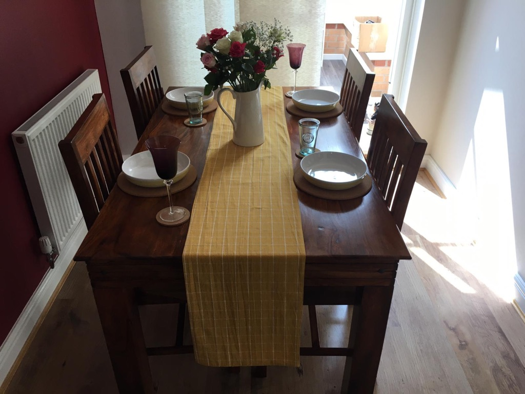 Solid Sheesham Wood Dining Table & 4 Chairs