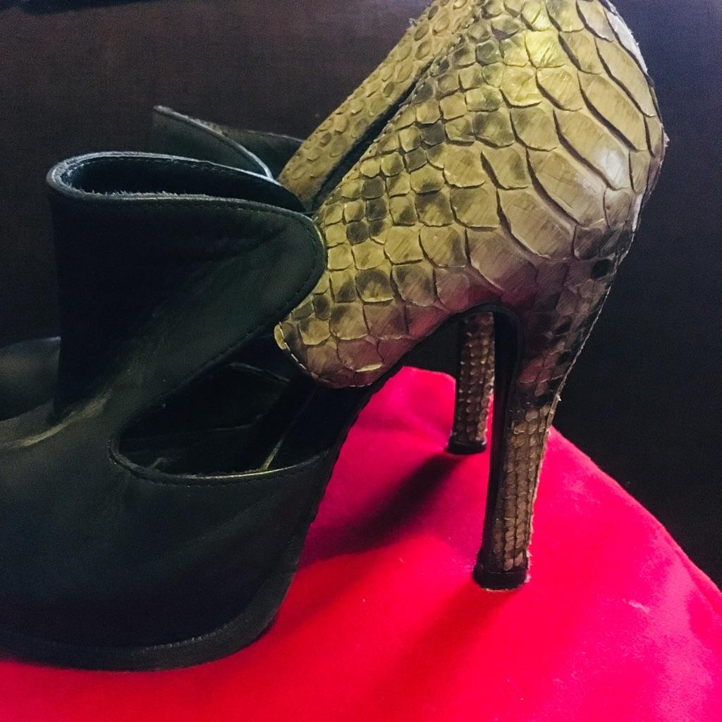 All Saints Leather & Snake skin Size 37