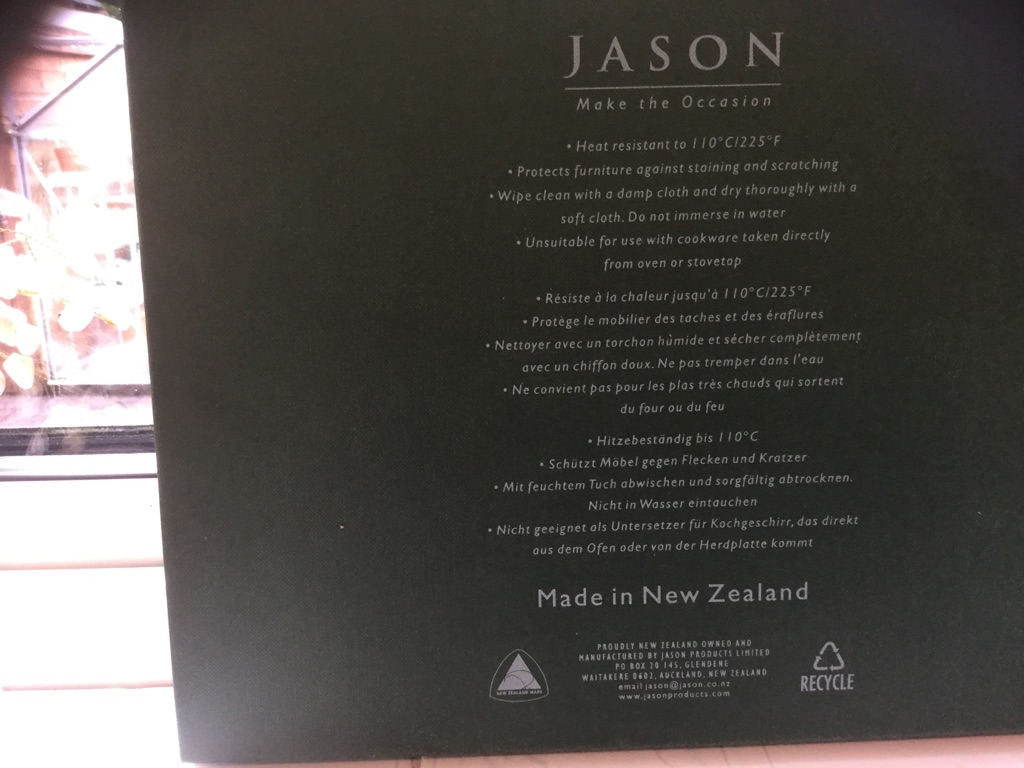 "Boxed set of ""JASON table mats"