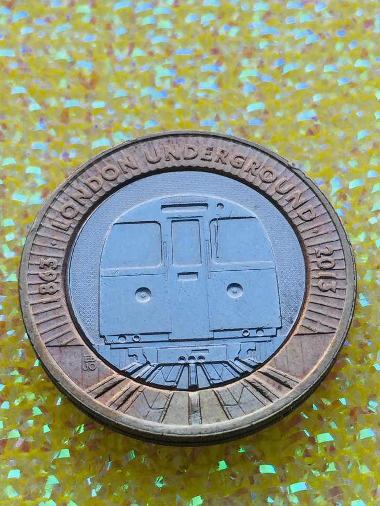 2 pound coin London Underground train. 2013.