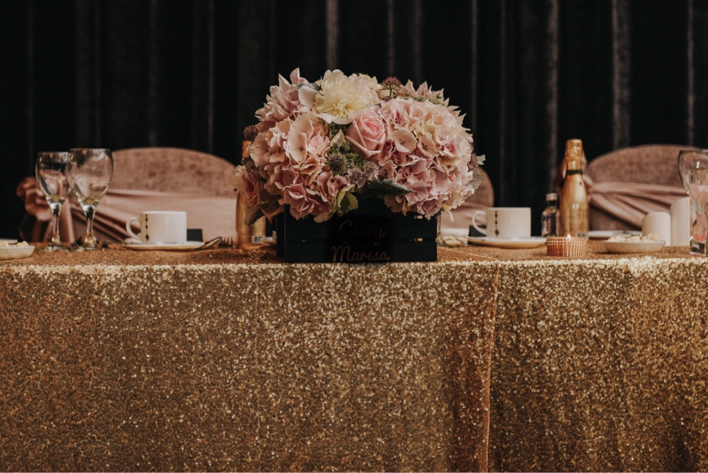 Gold Sequin Table Covers for Wedding/Events