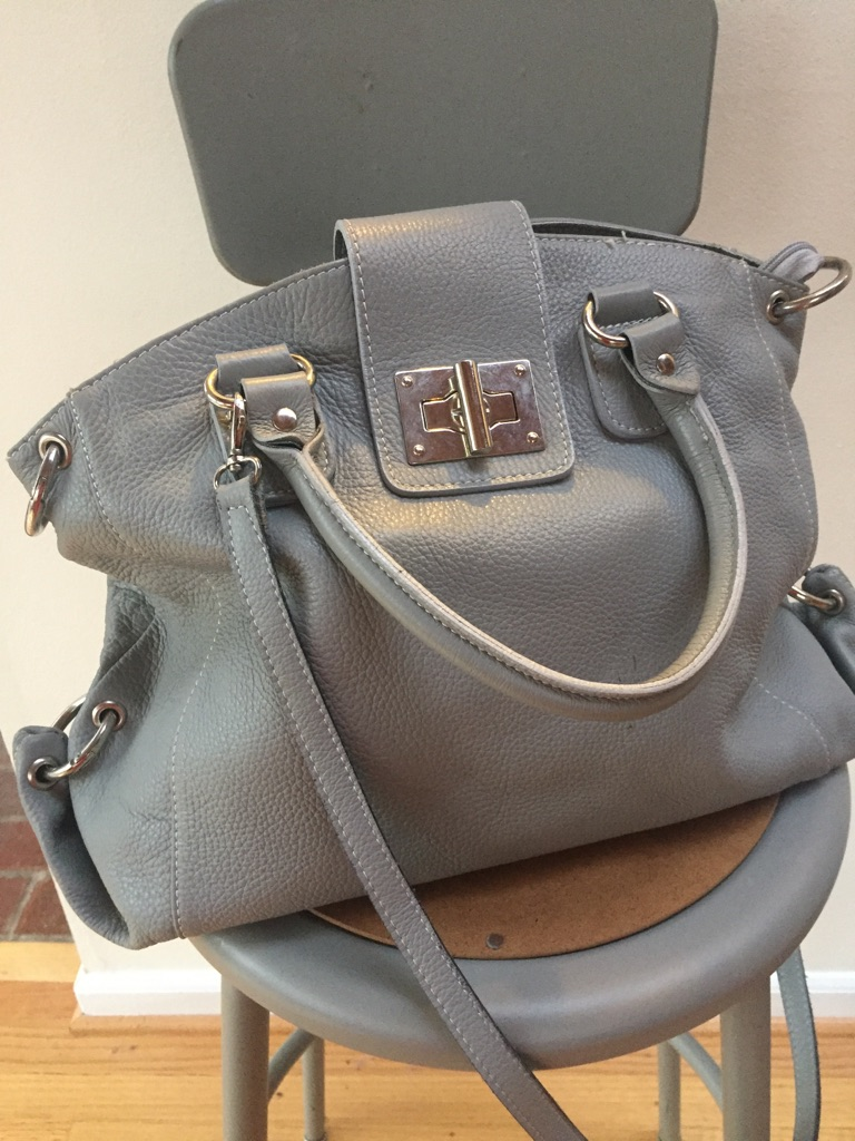 Grey leather hsndbag