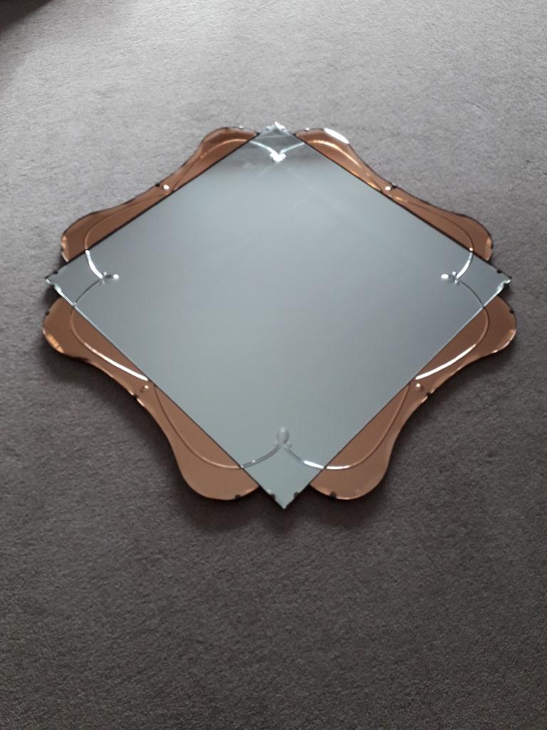 RARE Original Art Deco Peach Mirror