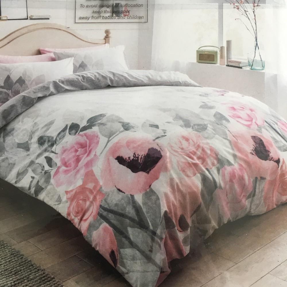 Faded flower reversible double duvet sets