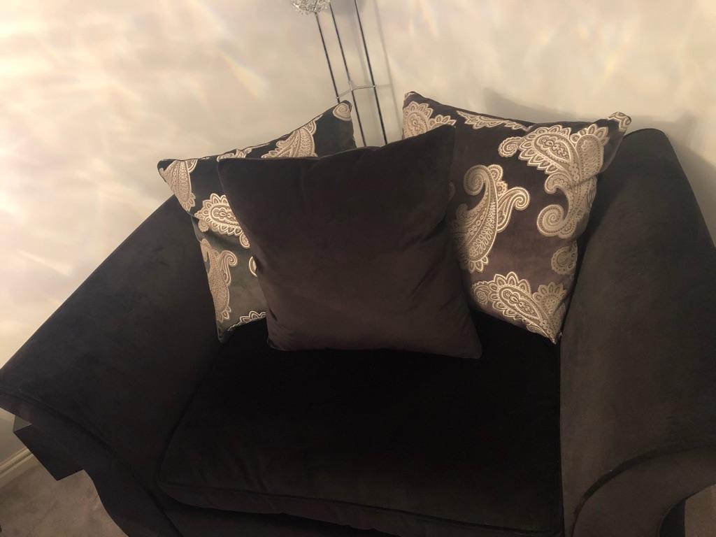 Black Velour Sofa & Snuggle Chair