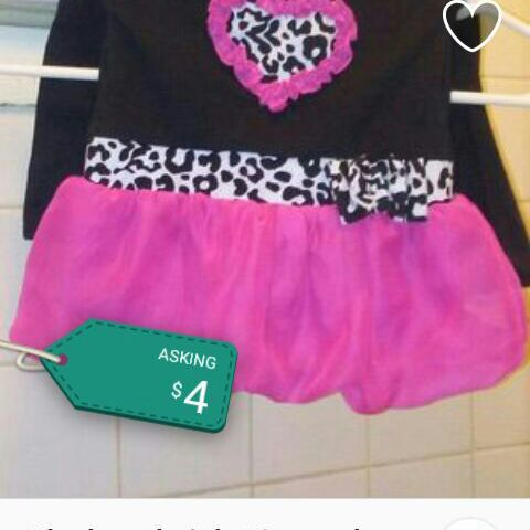 Pink and black 12 month dress
